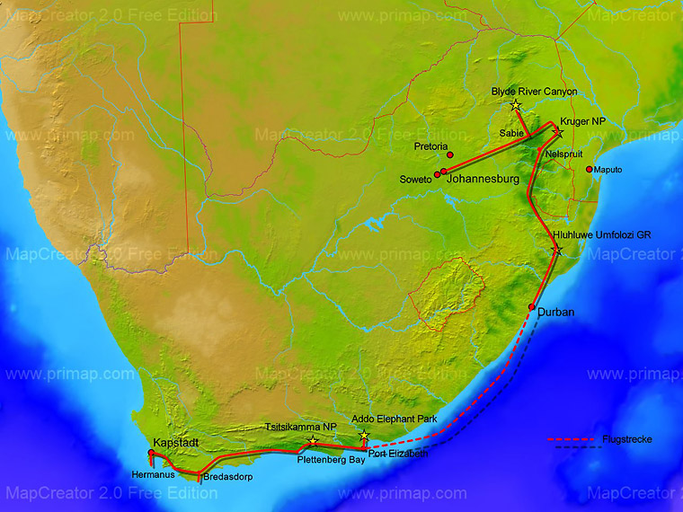 südafrika highlights karte